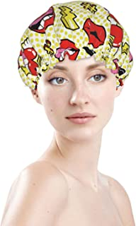 Large Funny Makeup Sexy Lips Waterproof Shower Cap Bonnet Best Curly Long Hair Cover Adjustable Washable Reusable Caps Cut...