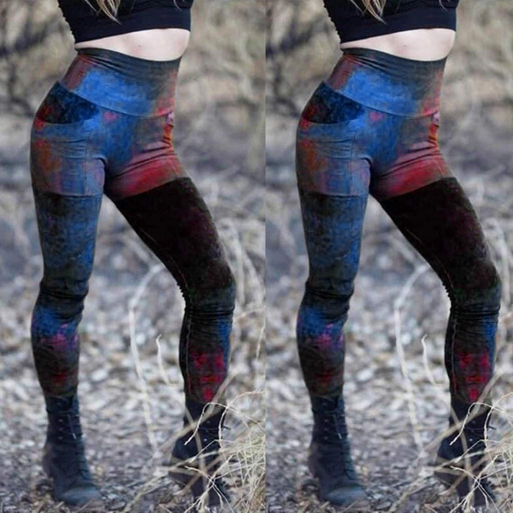 VEZAD Store Women's Tummy Control Yoga Pants Exercise Fitness Printed High-Waist Leggings: Clothing