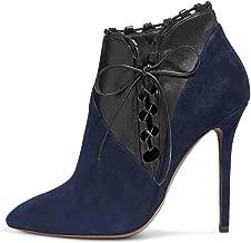 FSJ Women Fashion Closed Toe Ankle Booties Lace Up High Heels Stilettos Winter Dress Shoes Size 4-15 US