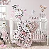 Bedtime Originals Hello Kitty Luv Hearts - Juego de ropa de cama para cuna (3 piezas), diseño de corazones, color rosa y dorado
