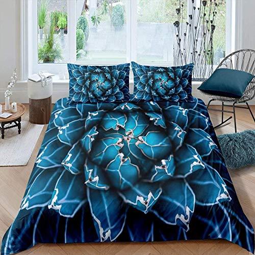 dsgsd Stampa 3D copripiumino stampa immagine Paesaggio blu moderno del fiore della pianta creativa 135x200 cm Set copripiumino 3D copripiumino letto matrimoniale copripiumino stampa digitale copripium