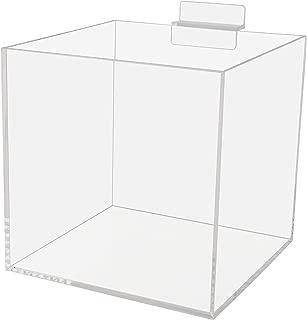 "6"" Acrylic Slatwall Box Retail Merchandise Bins Product Organizer 5 Sided Clear Acrylic Display Box Pack of 2"