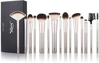 Jessup Makeup Brushes Eye Brush Foundation Powder Brush Blend Spoolie Make-up Set Beauty Cosmetics Make up 15 Pcs New Brush Set Champagne gold T255