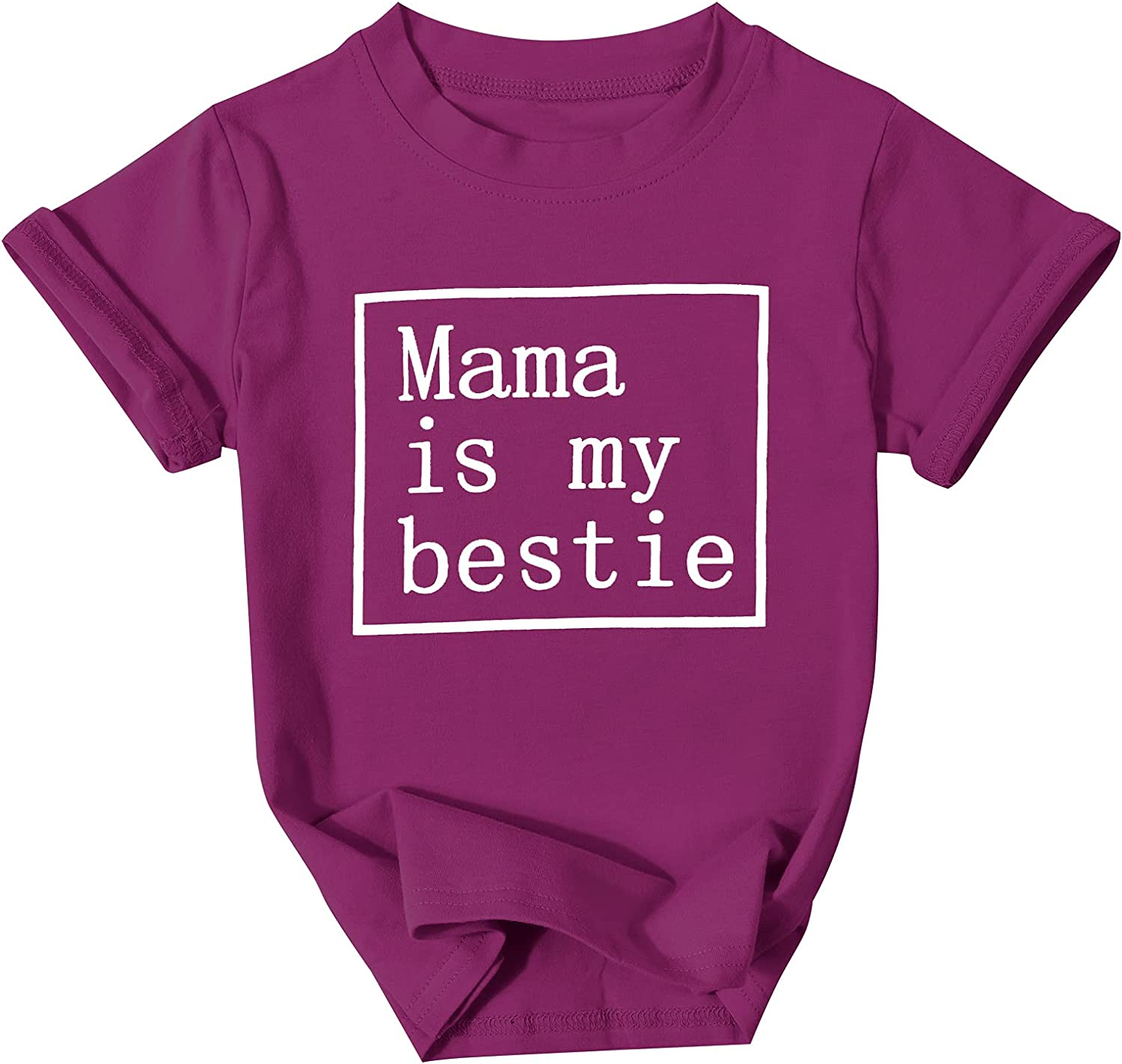 Toddler Baby Girls Boys Tshirt Mama is My Bestie Announcement Letter Print Shirt Short Sleeve Tee Tops