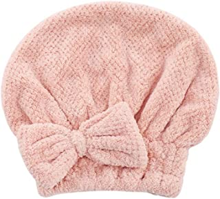 Dry Hair Cap, Quick-Drying Absorbent Towel, Hair Shower Cap, Cute Long Hair Dry Hair Towel, Pink, Light Gray, White, Brown (Color : Pink, Size : 26 * 27cm)