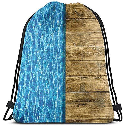 Dusk Fort Gedruckte Drawstring-Rucksack-Taschen, Sommerhaus-Schein-Swimmingpool Mit Hölzernem Schein-Plattform-Bild, Justierbarer Schnur-Schließung