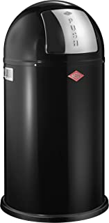 Wesco Pushboy - German Made - Push Door Trash Can, Powder Coated Steel, 13.2 Gallon / 50L , Black