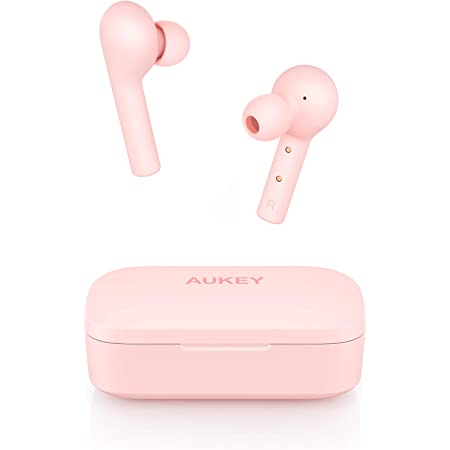 AUKEY Cuffie Bluetooth 5 Senza Fili Bassi Potenziati, Auricolari con Custodia da Ricarica 25 Ore di Tempo di Utilizzo, Microfoni Integrati, Prova di Sudore, Touch Control per Samsung iPhone Huawei