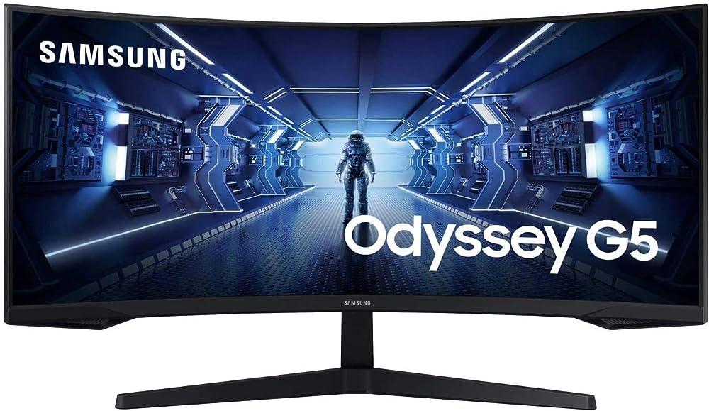 Samsung odyssey g5 monitor curvo 34 pollici 3440x1440 (ultra wqhd) 21:9 hdr10 va 165 hz 1 ms freesync pr LC34G55TWWUXEN