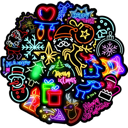 Neon Christmas Stickers for Water Bottles 50-Pack,Waterproof,Aesthetic,Trendy Stickers for Teens,Girls Perfect for Waterbottle,Laptop,Phone,Travel Case
