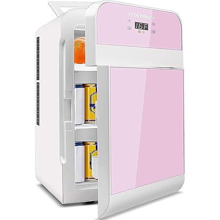 YITAMOTOR Pink Mini Fridge for Bedroom Skincares Makeups Double Doors 20L Fridge Digital Temperature Control Refrigerators for Dorm Room Office