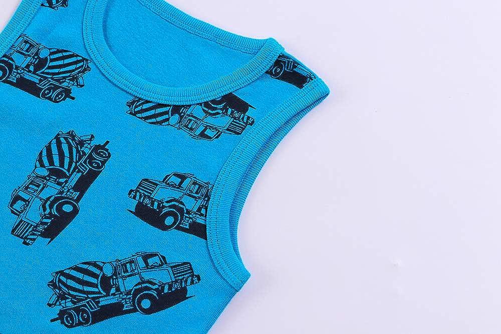 Huaer) Toddler Boys' 2-3 Pack Tank Tops (Blue Car, 6T)