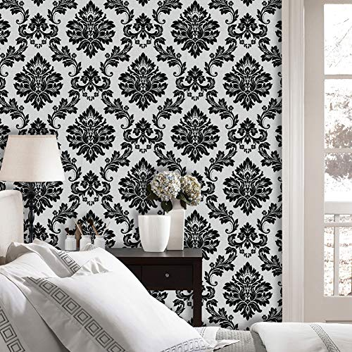 JZ·HOME 5333 Luxury Damask Wallpaper Rolls, Silver White/Black Embossed Texture Victorian Wall Paper Home Bedroom Living Room Hotels Wall Decoration 20.8in×32.8ft