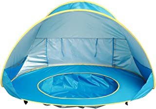 HOMYL Pop Up Baby Beach Tent with Shade Pool UV Protection Canopy Sun Shelter Playhouse Hut for Infant Water Sand Toy, 50+ UPF Collapsible Portable Blue