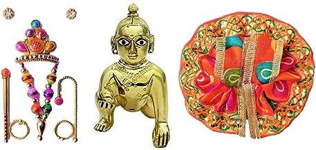 Laddu Gopal Thakur ji Statue Pital Brass Murti Kanha ji with pushak mukut ,Metal Baby Krishna Bal Gopal Thakurji Size 3 De...