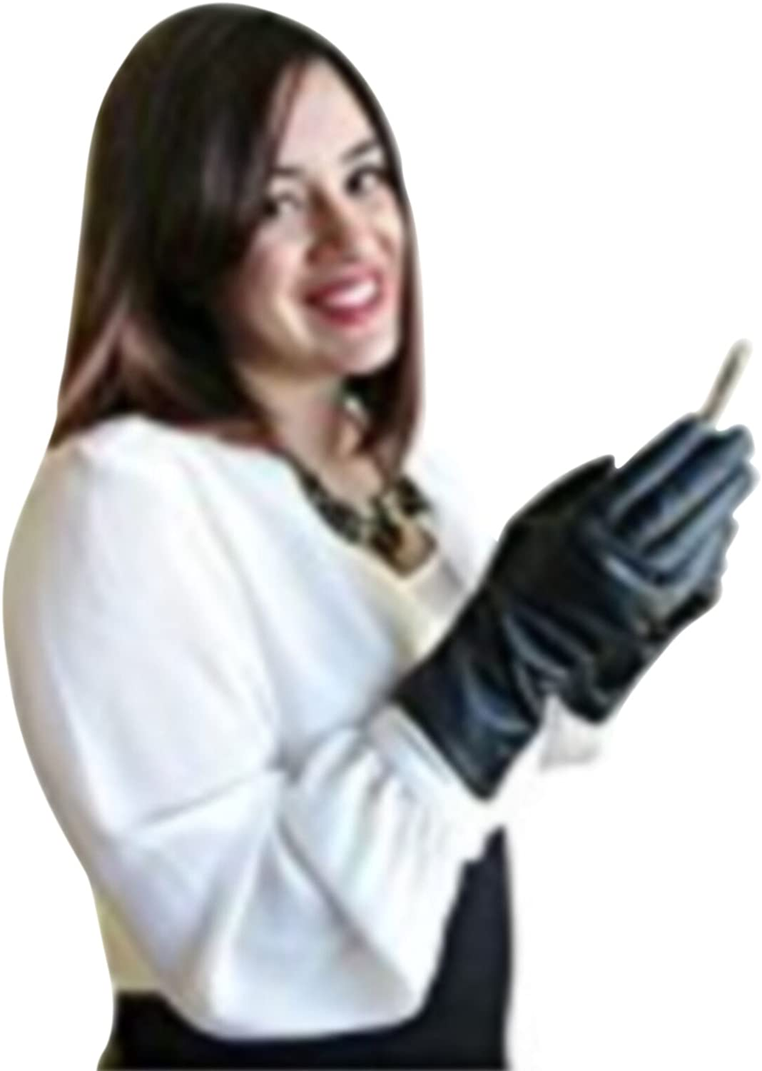 FOWNES Women's Cashmere Lined All Fingers Conductive Metisse Leather Gloves