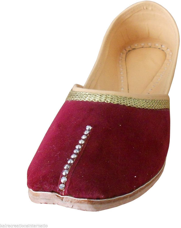Kalra Creations Women's Indian Traditional Velvet Ethnic shoes