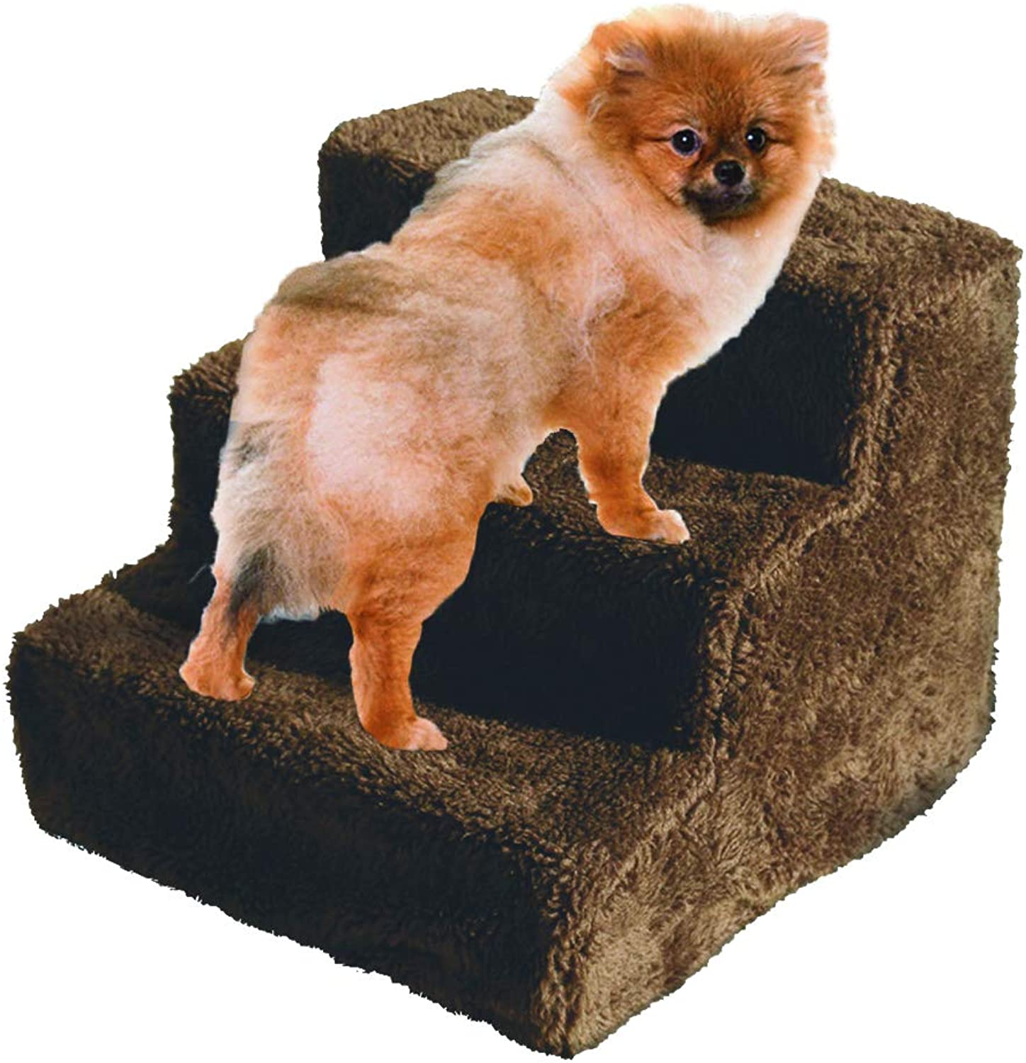 FRISKY FRIENDS Pet Stairs Dog Steps 3 Step Ladder Fleece Covered Staircase Indoor Ramp Kitten Cat Puppy