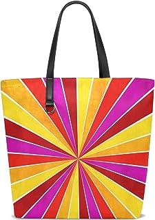 FANTAZIO Schultertasche für Damen, bunt, Gelb, Pink, Orange und Rot, Ray Sunburst Muster