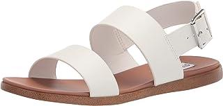 Steve Madden Women's Flat Sandal, White Leather, 7