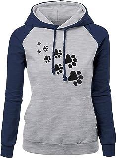 Jacket Women Long-Sleeve Hoodie Modern Drawstring Pockets Cat Paw Print Patchwork Casual Stretch Loose Pullover Sweatshirt...