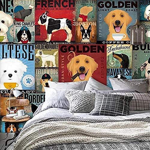Fondo de pantalla del sofá Wallpaper_3D Tela de pared de dibujos animados Perro mascota Tienda Sala Pared Pintado Papel tapiz 3D Decoración dormitorio Fotomural sala sofá pared mural-430cm×300cm
