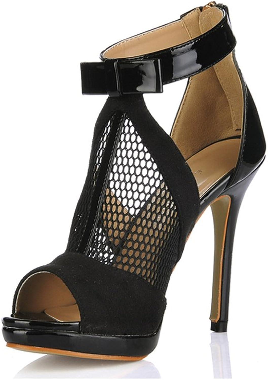 XUERUI Comfort Net Yarn High-Heeled High-Heeled shoes with Women's shoes Fish Mouth shoes (Size   EU36 UK3.5 CN35)