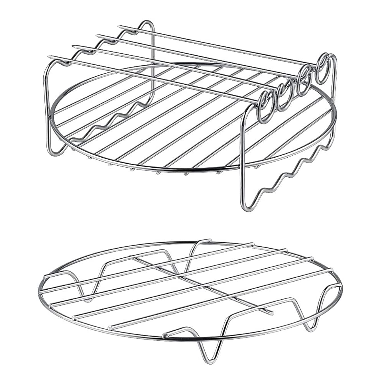 XL Air Fryer Accessories-Air Fryer Rack Set of 2, MFTEK Multi-purpose Double Layer Rack with Skewer, Compatible with XL Power Airfryer Philips