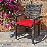 6 Sitzkissen mit Reißverschluss und Bindeband 49x48x6 cm in rot Caracas 50102-31 ohne Stuhl