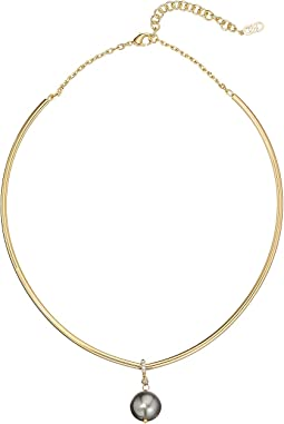 "Cole Haan 5.25"" Wire Collar with Pearl Drop Necklace"