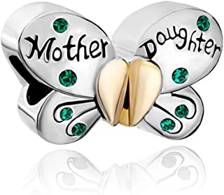 QueenCharms Mother Daughter Mom Butterfly Matching Charms with Emerald Green Crytals For Bracelets