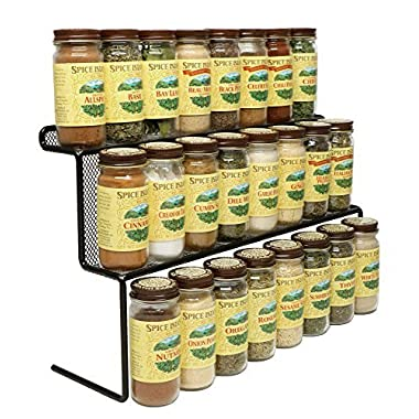 KitchenEdge 2-Tier Elevated Spice Rack Storage Organizer, Holds 16 Spice Jars and Bottles, Width 15 Inches