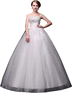 JJ-GOGO Women's Strapless Ball Gown Style Wedding Dress with Lace Up Back