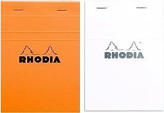 Rhodia クラシック フレンチペーパーパッド 罫線入り 6インチ x 8 1/4インチ オレンジとホワイト 2個パック