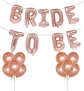 5 St/ück Folien ballons unterschiedlicher Form 2 Meter Sternform h/ängende Girlande 1 St/ück BRIDE TO BE Brief 14 St/ück Latex Luftballons Rose Gold Junggesellinnenabschied Dekoration Luftballons Set