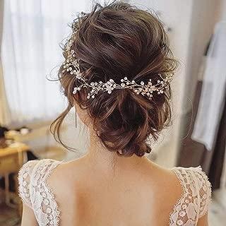 Catery Bride Wedding Headband Silver Pearl Hair Vine Bead Bridal Hair Accessories for Women(Silver)