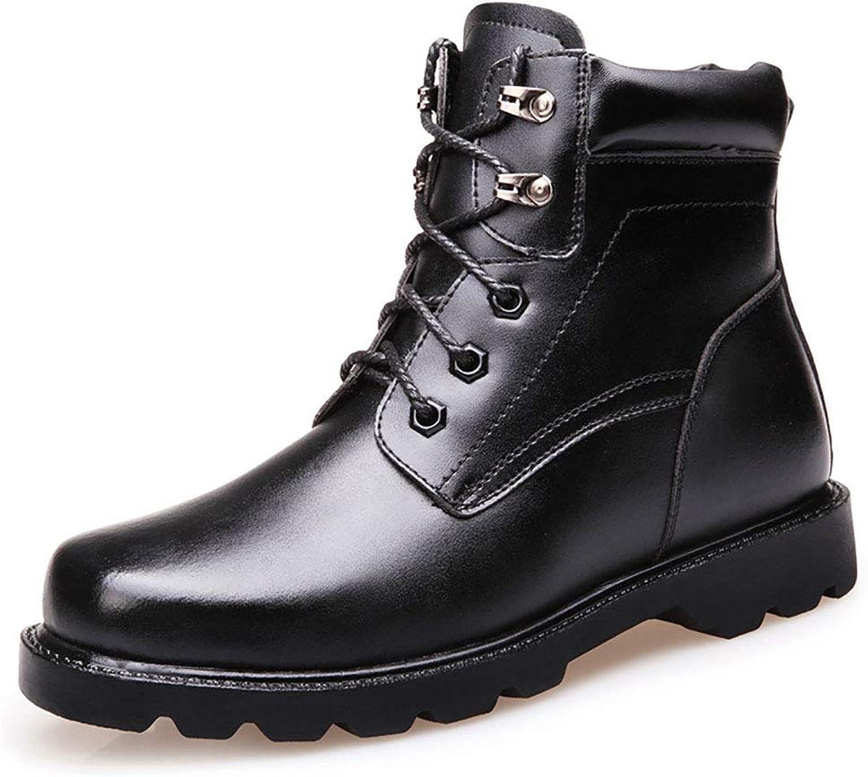 ZHRUI Men's Casual Martin Boots Plus Velvet Warm Mid Boots Leather Rubber Non-Slip Boots (color   Black, Size   EU39 UK5.5)