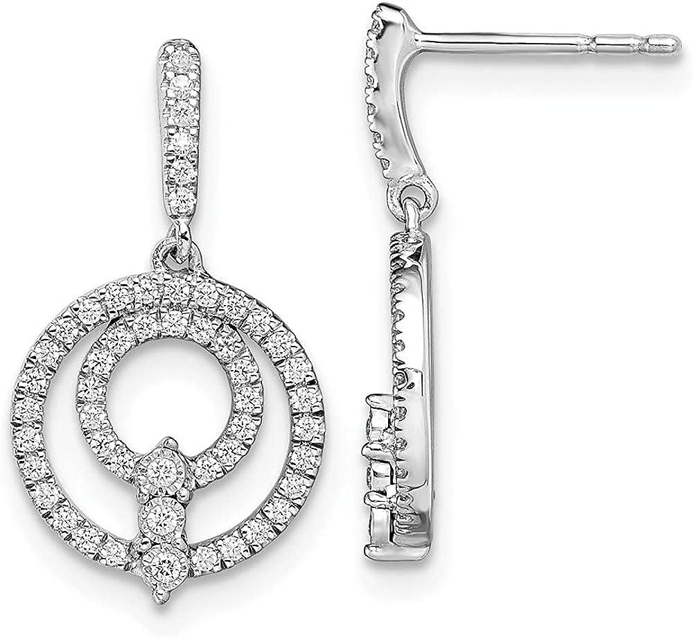 14k Dealing full price reduction White Gold Circle Diamond Earrings Now free shipping Dangle