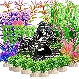 23piezas de plantas de plástico para acuarios con vista de rocalla,planta de acuario artificial y montaña de acuario, cueva de roca de arrecife para decoración de adornos de pecera,(colores mezclados)