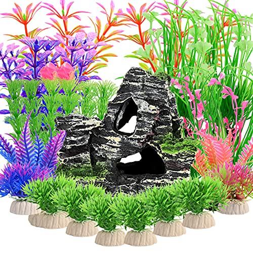 23piezas de plantas de plástico para acuarios con vista de rocalla,planta de acuario artificial y montaña de acuario, cueva de roca de arrecife para decoración de adornos de pecera,(colores me