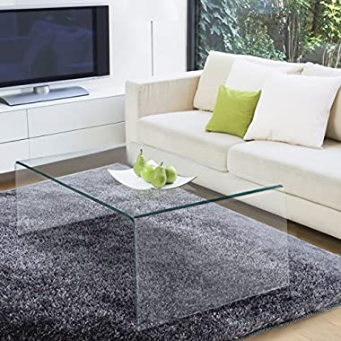 TANGKULA Glass Coffee Table Modern Home Office Furniture Clear Tempered Glass End Table International Occasion Tea Table Waterfall Table with Rounded Edges