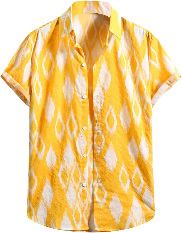FUNEY Men's Flower Hawaiian Shirt Casual Button Down Short Sleeve Standard Fit Plus Size Summer Beach Yoga Cotton Shirts