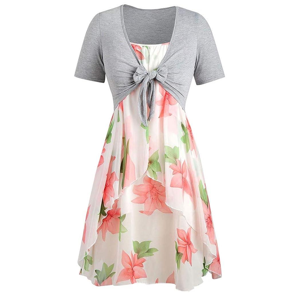 Pongfunsy Women Dresses Casual Sunflower Print Mini Dress Short Sleeve Bow Knot Tops Beach Pleated Dress Suits (FBA)