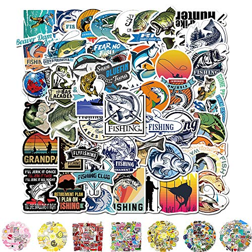 Vinyl Stickers, Cool Laptop Sticker 50 Packs, Water Bottles Stickers for Adult Women Teens Girls Boys Hippie Graffiti Bomb Pack Stickers Trendy Stickers for Laptop Hydro Flask Skateboard (Fishing)