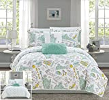 Chic Home New York 5 Piece Reversible Quilt Set City Inspired Printed Design Coverlet Bedding - Decorative Pillows Shams Included Size, Queen, Green