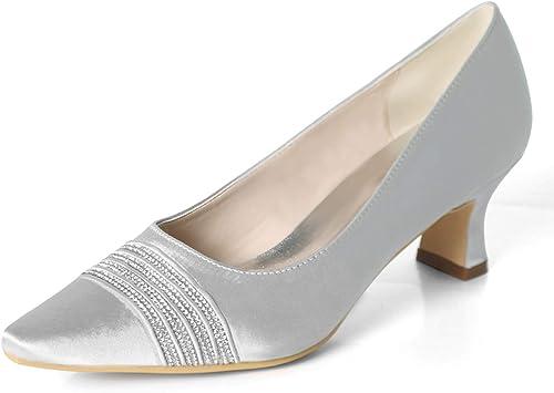 Eleboeb Chaussures de mariée pour Femme Pointues Pointues Pointues en Satin à la Cheville Bout fermé Strass d'été soirée Talon 5.5cm b9b