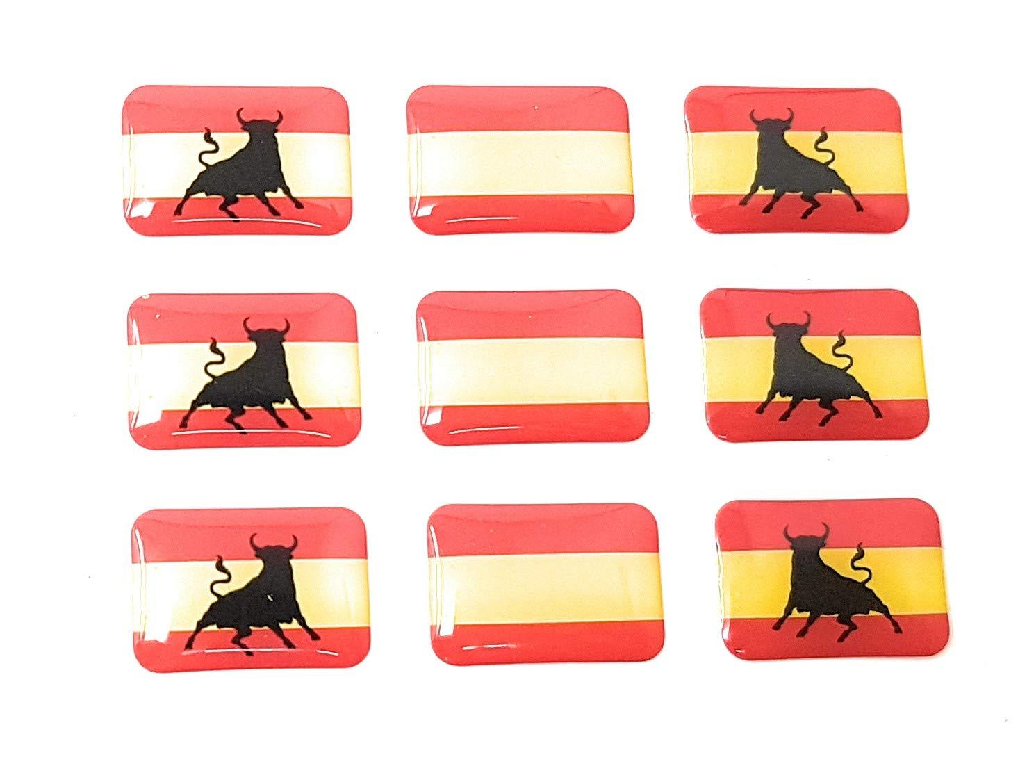 Valmonisport Bandera de España con Toro y Sin Escudo 9 Pegatinas Adhesivo 3D Relieve Resina Vinilo: Amazon.es: Coche y moto
