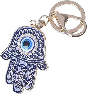 Girl's Evil Eye Keychain Gold Plated Hamsa Hand Bag Charm Cute Car Key Ring Crystal Purse Pendant #51619