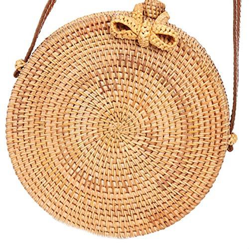Fengyuanhong Round Straw Bags Women Summer Rattan Handmade Woven Woven Shoulder Bag Round Beach Shoulder Body Bag Circle Bohemia Handbag