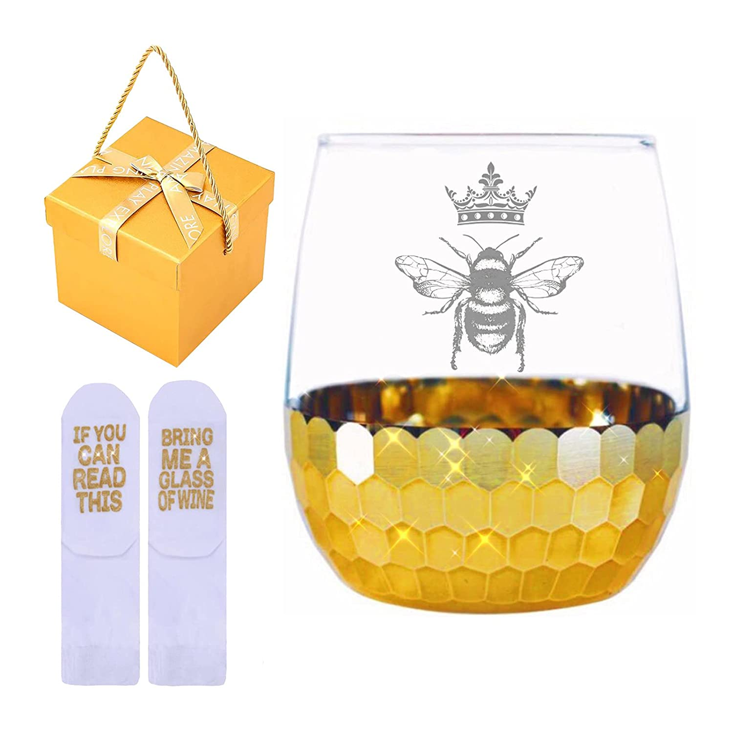 Bee Queen Stemless Honeycomb Gold Glass for Max 43% OFF Wine Gifts Bombing new work Funny